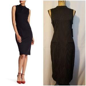Sharagano/pinstripe mock neck dress.